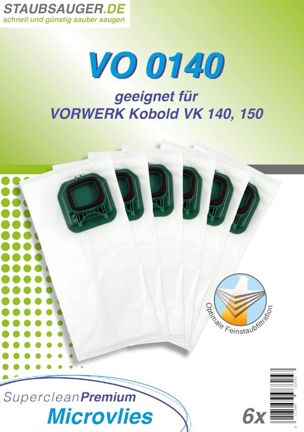 6 Staubsaugerbeutel geeignet für Vorwerk Kobold VK 140, VK 150