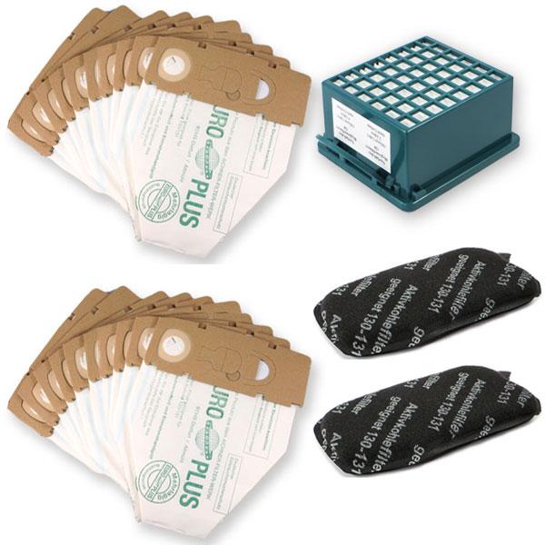 Sparset geeignet für Vorwerk Kobold 130, 131 - Staubsaugerbeutel, Aktivfiltersystem, Geruchsfilter