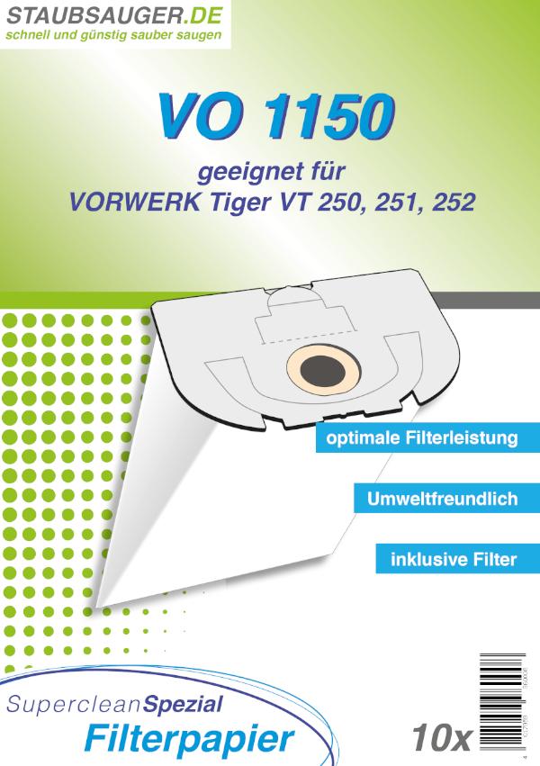 10 Staubsaugerbeutel geeignet für Vorwerk Tiger VT 250, 251, 252