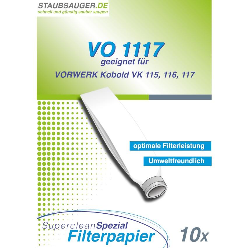 10 Staubsaugerbeutel geeignet für Vorwerk Kobold VK 115, VK 116, VK 117