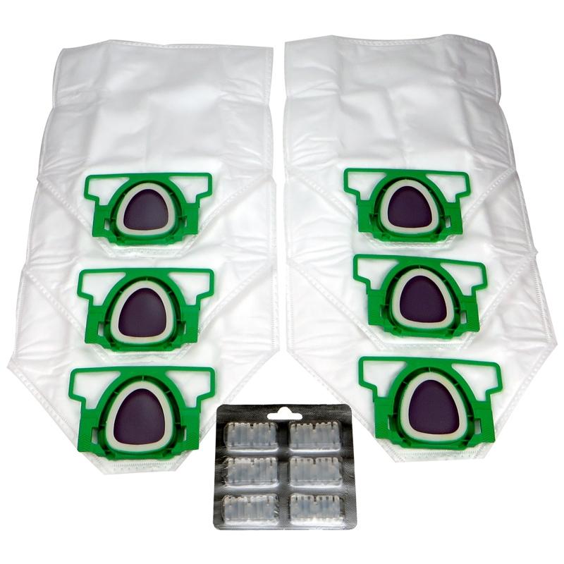 Sparset geeignet für Vorwerk Kobold VK 200 inkl. 6x Staubsaugerbeutel, 6x Duftchips