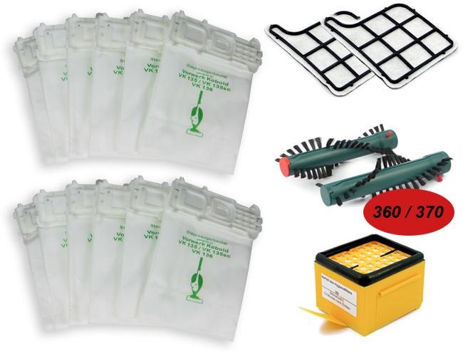 Sparset geeignet für Vorwerk Kobold VK 135, 136, EB 360, 370 inkl. Staubsaugerbeutel, Filter, Bürste