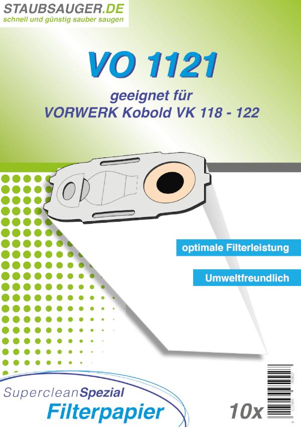 10 Staubsaugerbeutel geeignet für Vorwerk Kobold VK 118, VK 119, VK 120, VK 121, VK 122