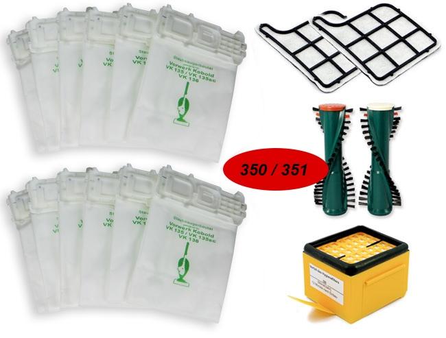 Sparset geeignet für Vorwerk Kobold 135, 136, EB 350, 351 - Staubsaugerbeutel, Filter, Bürstenwalzen