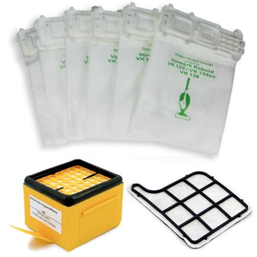 Sparset geeignet für Vorwerk Kobold 135, 136 inkl. Hygienefilter, Motorfilter, Staubsaugerbeutel