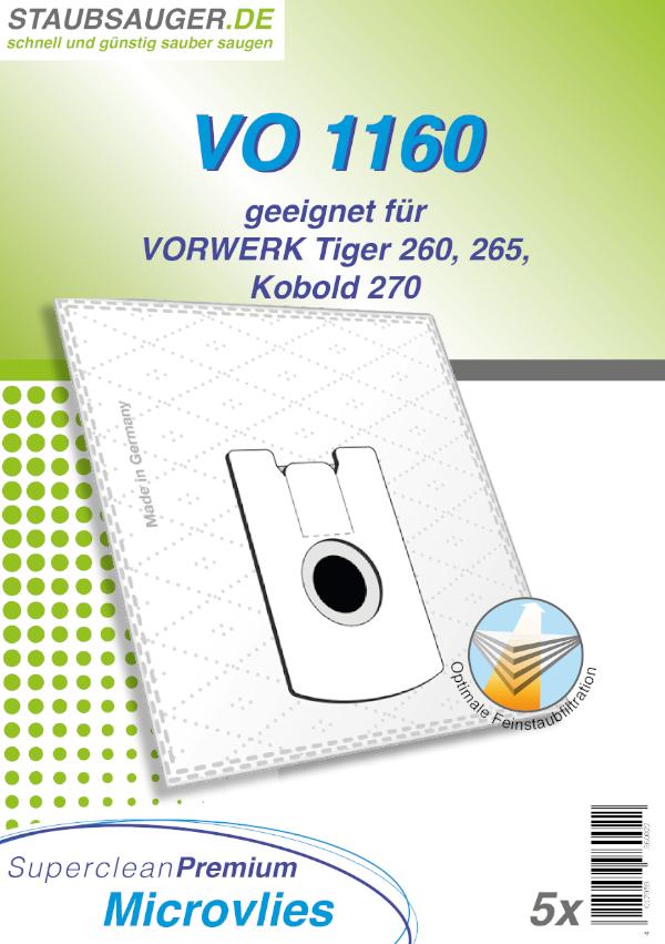 5 Staubsaugerbeutel geeignet für Vorwerk Tiger 260, Kobold VT 265, VT 270, VT 300
