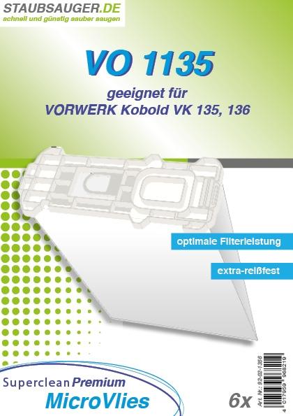 6 Staubsaugerbeutel geeignet für Vorwerk Kobold VK 135, VK 136